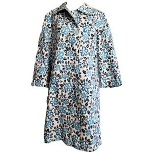 Bill Blass teal floral trench coat